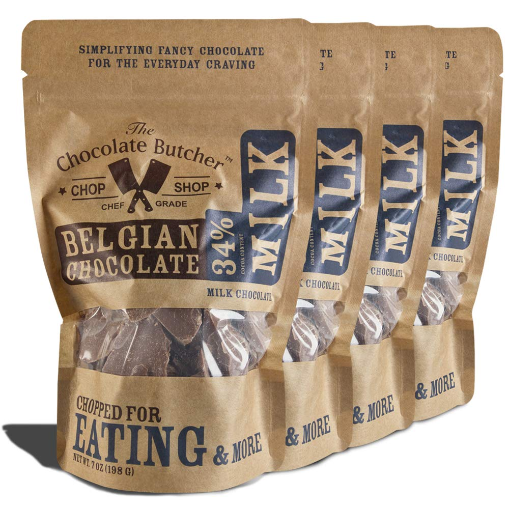 Milk Chocolate 34% Cocoa Content - Chopped for Snacking or Melting by The Chocolate Butcher