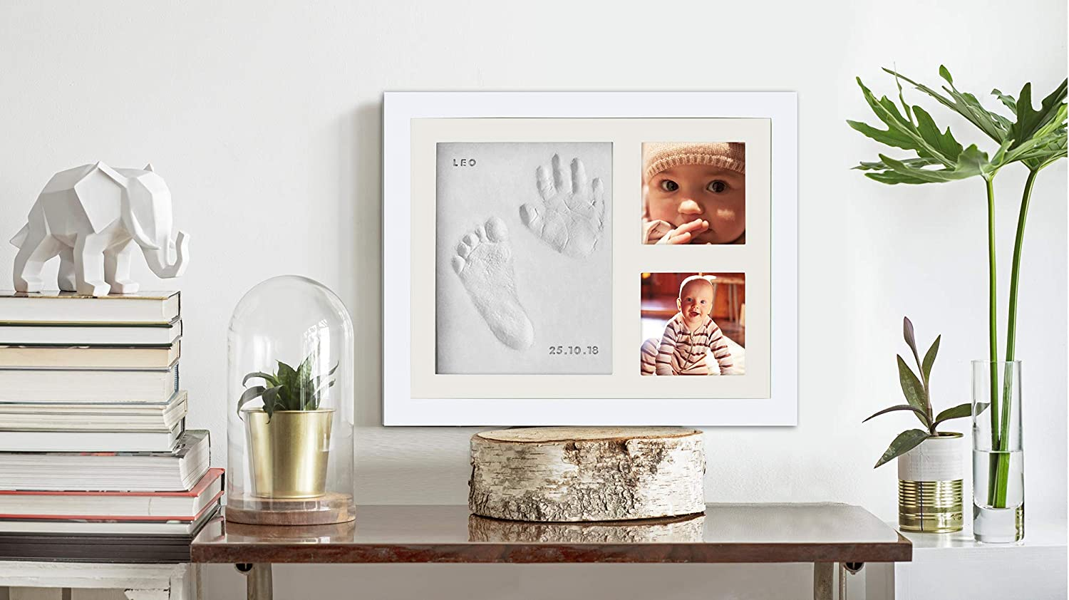 for Baby Girls /& Boys Personalized Gift for Showers Baby Hand /& Footprint Photo Frame Kit by Kubai Registries /& More Wood Frame