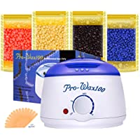 Boniss Hard Waxing Hair Removal Kit for Safe at Home Wax Melter with 15 Wax Applicator Sticks and 4 Flavors Hard Wax Beans 3.5 oz a Bag