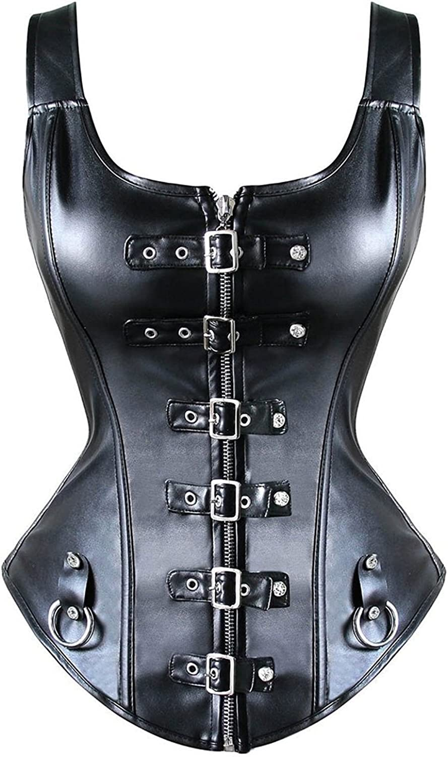 KIWI RATA Women's Punk Rock Faux Leather Buckle-up Corset Bustier Basque with G-String