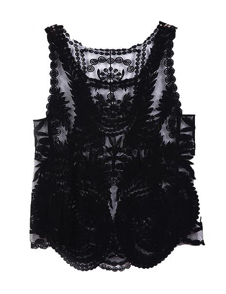 d1d2099b40b CHARLES RICHARDS CR Women's Lace Floral Sleeveless Crochet Knit Vest Tank  Top