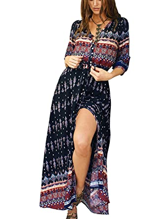 2a5966d506e Adibosy Women s Plus Size Bohemian Floral Printed Maxi Dress Summer Beach  Botton up Split Long Dresses