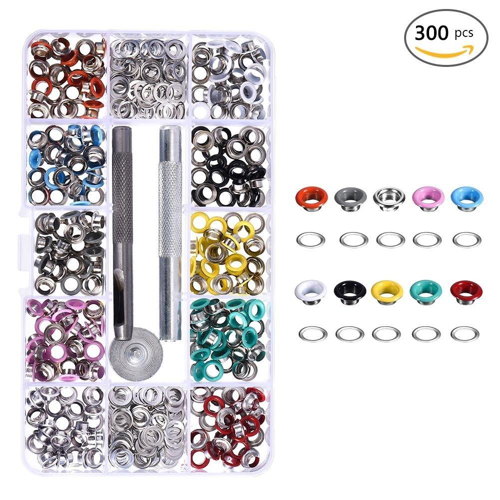 300 St/ücke Runde Form Metall/ösen 10 Farben 300pcs mit 3 Ring werkzeuge f/ür Leather Craft DIY