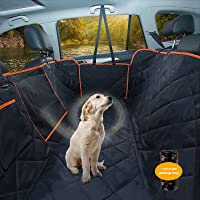 Dog Car Seat Cover, Waterproof Pet Seat Cover Protector with Mesh Visual Window & Seat Belt Opening & Storage Pockets…