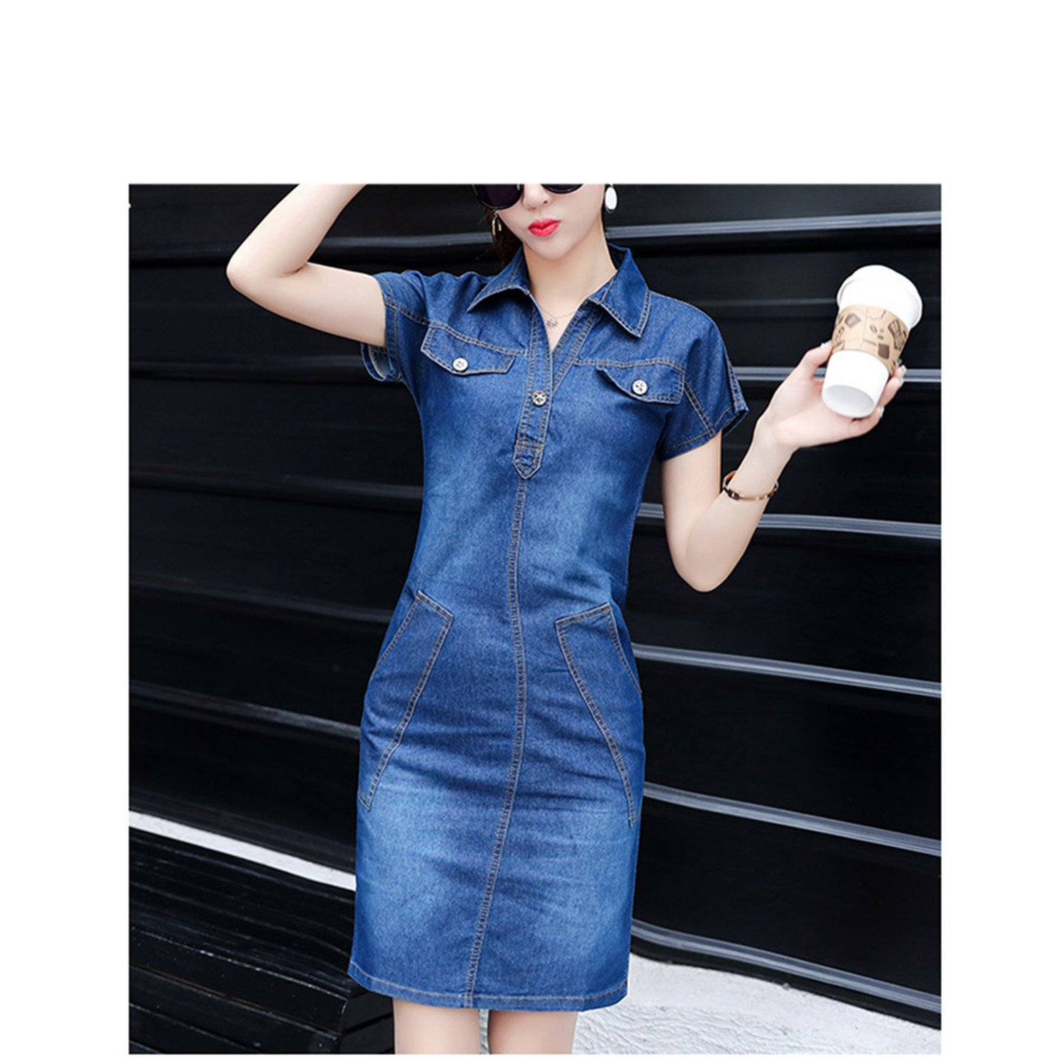 Amazon.com: FBIIIOU Jeans Dresses Vintage Slim Office Short Dress Vestidos: Clothing