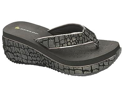 Ladies Dunlop Low Wedge Multi Platform Summer Slip On Toe Post FlipFlops Sandals Shoes 3-8