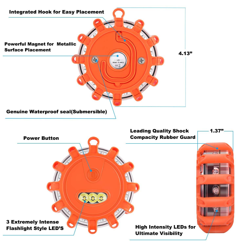 3 f/ür Auto LKW Boot Tobfit LED Warnleuchte Notscheibe Beacon Sicherheitsflare Blinkende Warnleuchte Magnetfu/ß und Haken