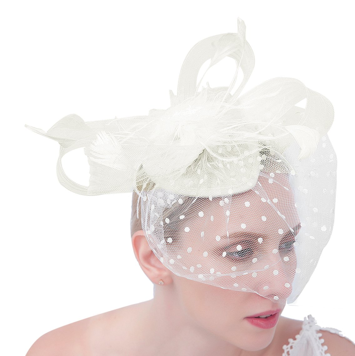 Felizhouse Women Fascinator Hats Dot Veil Feather Kentucky Derby Party Headband