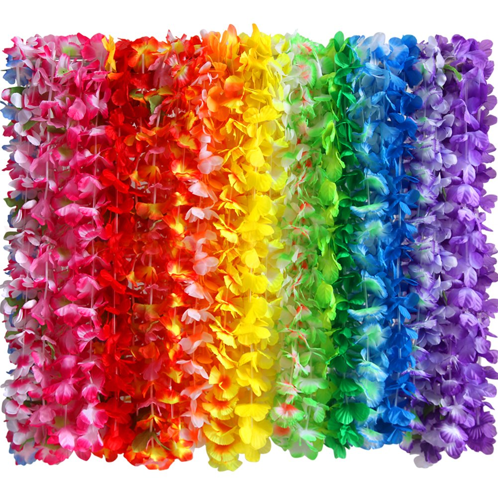 Amazon myamy 36 counts hawaiian leis necklace tropical luau amazon myamy 36 counts hawaiian leis necklace tropical luau hawaii silk flower lei theme party favors wreaths headbands holiday wedding beach birthday izmirmasajfo