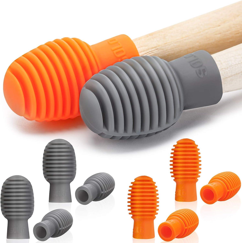 Liyafy 2pcs Drum Stick Control Clip Finger Ring Anti Slip Drumsticks Accessories For Drummer Beginners Practice Orange Black