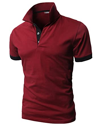 cb2f45bc52 H2H Mens Back Color Blocked Short Sleeves Polo Shirts with Pocket Point  Wine US XS/