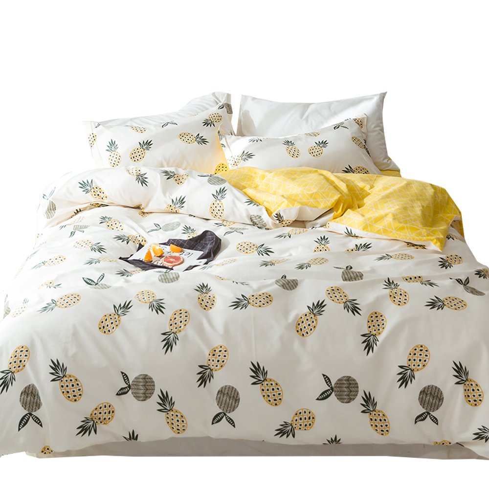 ORoa 100% Cotton Pineapple Bedding Sets Twin for Girls Teen Toddler Woman Adults Soft Reversible Kids Children Blue Yellow White 3 piece Duvet Cover with Zipper Ties (Fruit Pineapple B, Twin Size)