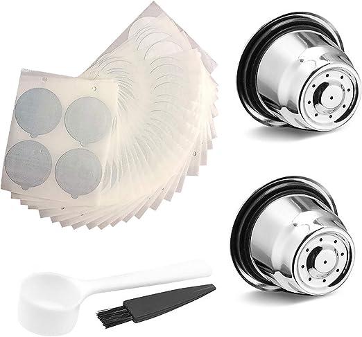 Siebwinn - 2 filtros de cápsula con cepillo de cuchara + 100 cápsulas de plástico desechables para cafetera Nespresso compatible con cafetera Nespresso: Amazon.es: Hogar