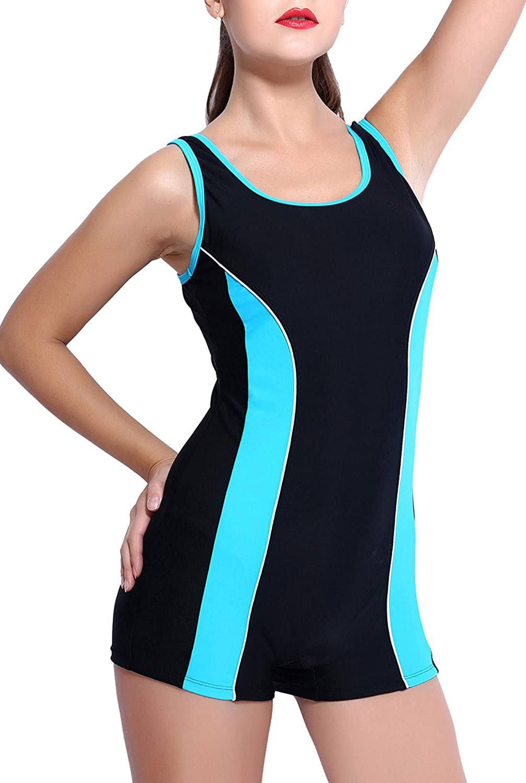 Badeanzug mit Bein: BeautyIn Damen Badeanzug Boyleg Bauchweg