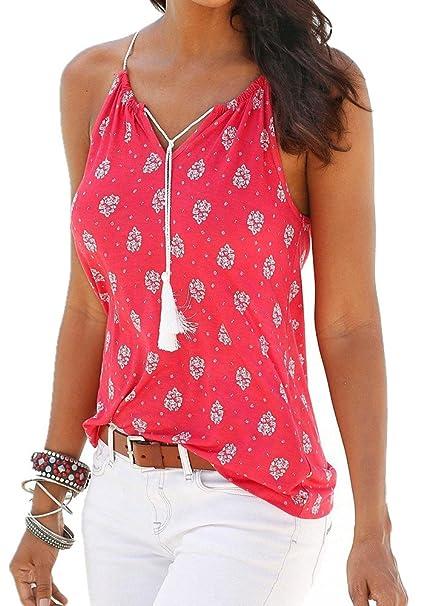 Coutgo Women Sleeveless Printed Strap Blouse Shirt Top (M