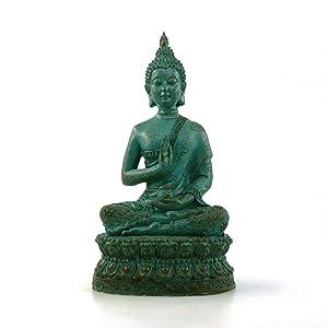 "ornerx Thai Sitting Buddha Statue for Home Decor Verdigris 7"""
