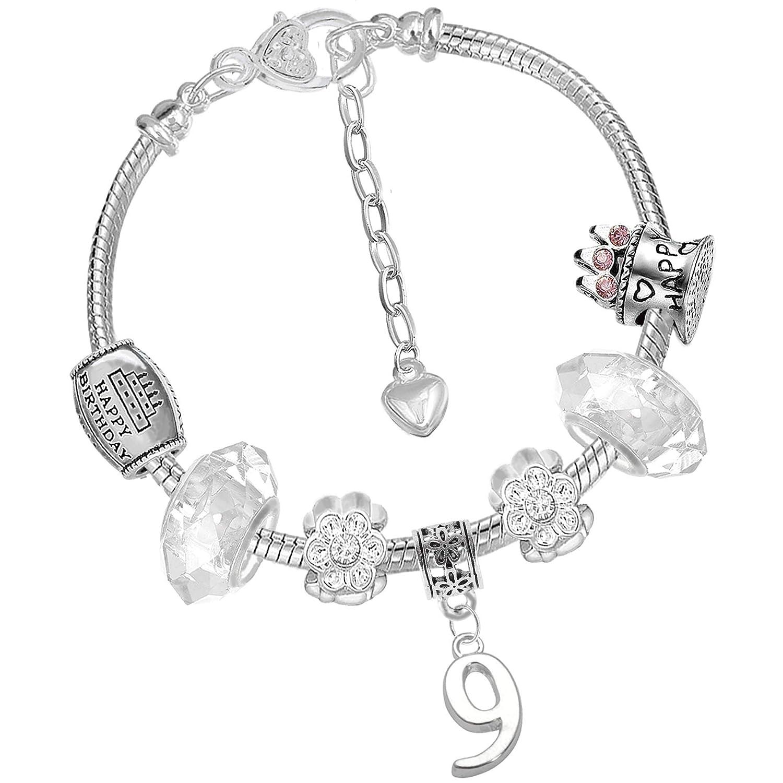 Filles 9e anniversaire Paillette Bracelet à breloques Licorne carte d'anniversaire et cadeau Box Set Charm Buddy ® NXG-3 Ch-96 Q-45 16cm Silver