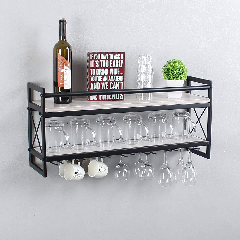 TOKIKA Industrial Wine Rack Wall Mounted,2-Tier Metal Stemware Rack,30