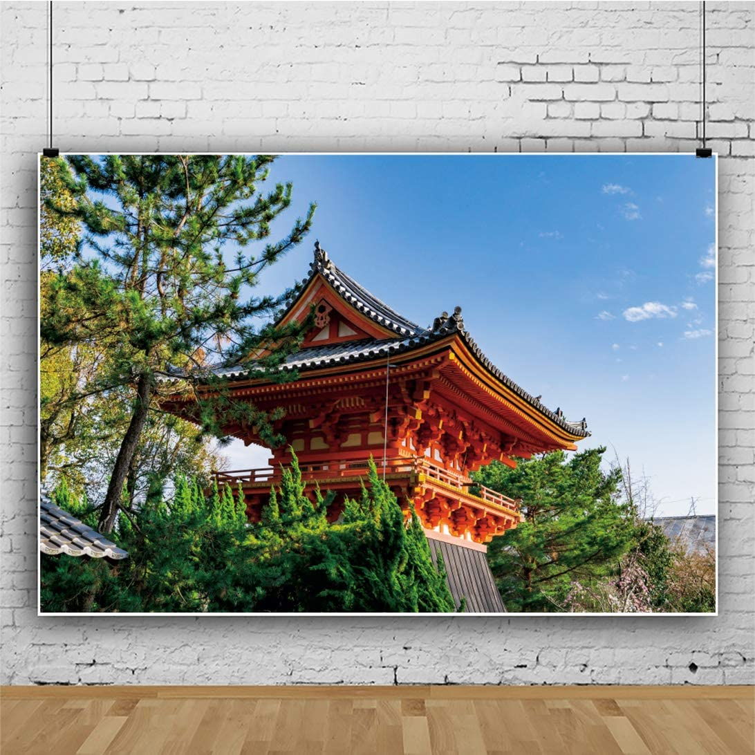 DORCEV 10x8ft Japanese Red Architecture Backdrop Naturel Sunny Blue Sky Japanese Landscape Photography Background Green Tree Temple Room Wallpaper Children Adults Portraits Photo Studio Props