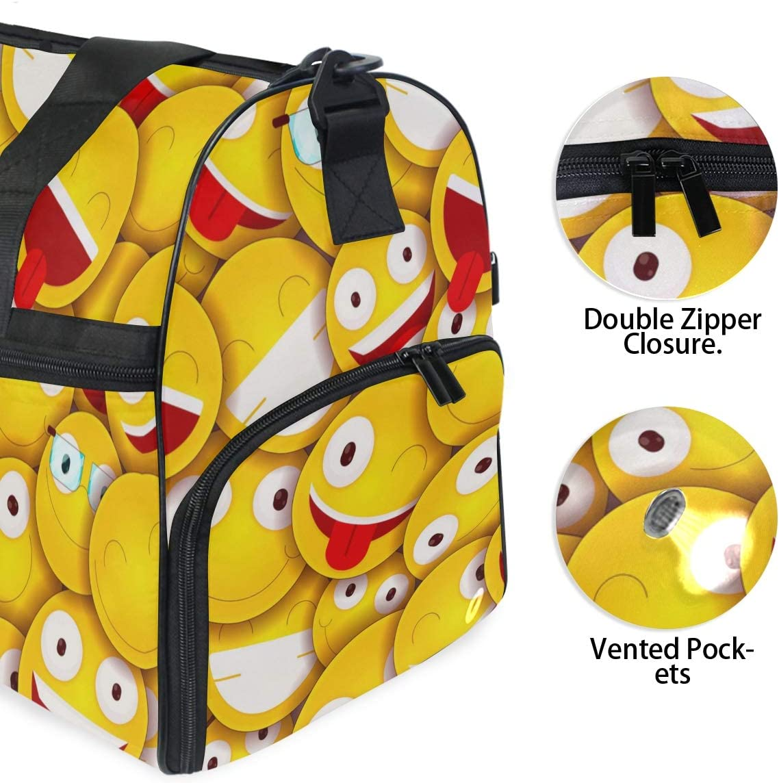 FAJRO Gym Bag Travel Duffel Express Weekender Bag Colored Emoticons Carry On Luggage with Shoe Pouch