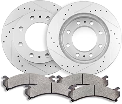 For Chevy GMC Silverado Sierra 3500 Rear Brake Discs Rotors And Ceramic Pads Kit