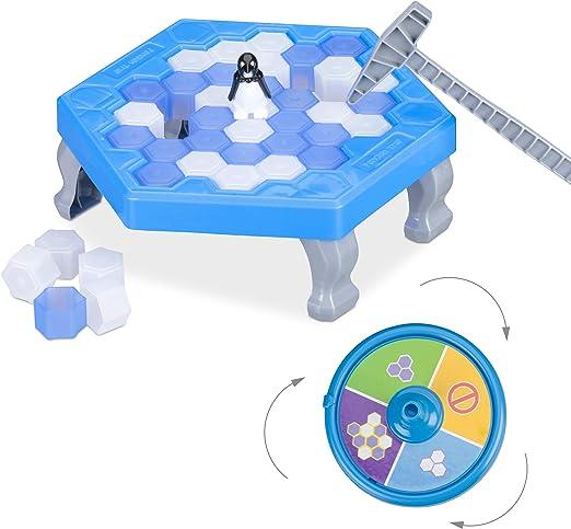 Relaxdays Pingüinos Juego de Mesa, Rompehielo, Juguete Niños a Partir de 3 Años, 2-4 Jugadores, Plástico, 1 Ud., Azul: Amazon.es: Juguetes y juegos
