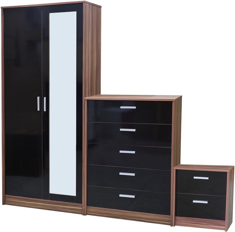 direct furniture khabat 2 door mirrored wardrobe and 5 drawer chest