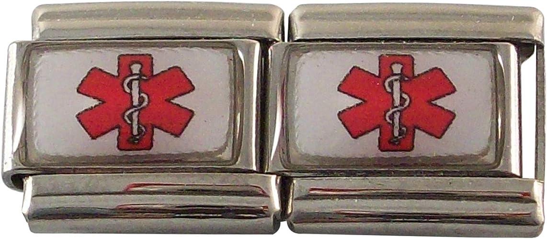 2 Blue Medical Stars of Life Medical Alert ID Italian Charms for Bracelet Men or Women Awareness Stainless Steel