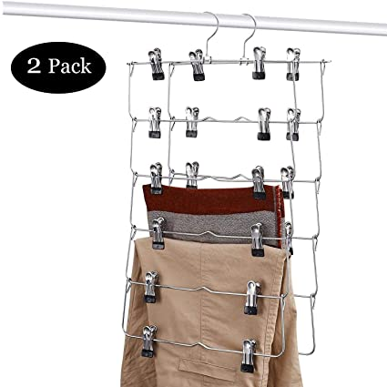 DOIOWN 6 Tier Skirt Hangers Pants Hangers Closet Organizer Stainless Steel Fold  Up Space Saving Hangers