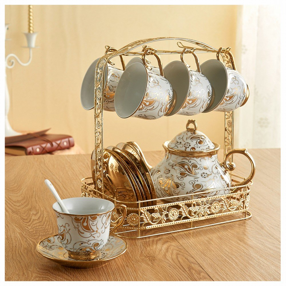 DHG Coffee Cup Sets Full European Bone Porcelain Cup Saucer Tea Set Cup Household Mug Water Cup,A by DHG