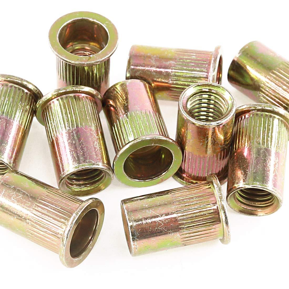 Rustark 50-Pcs 1//2-13UNC Mixed Zinc Plated Carbon Steel Rivet Nut Flat Head Insert Nutsert Assortment Kit
