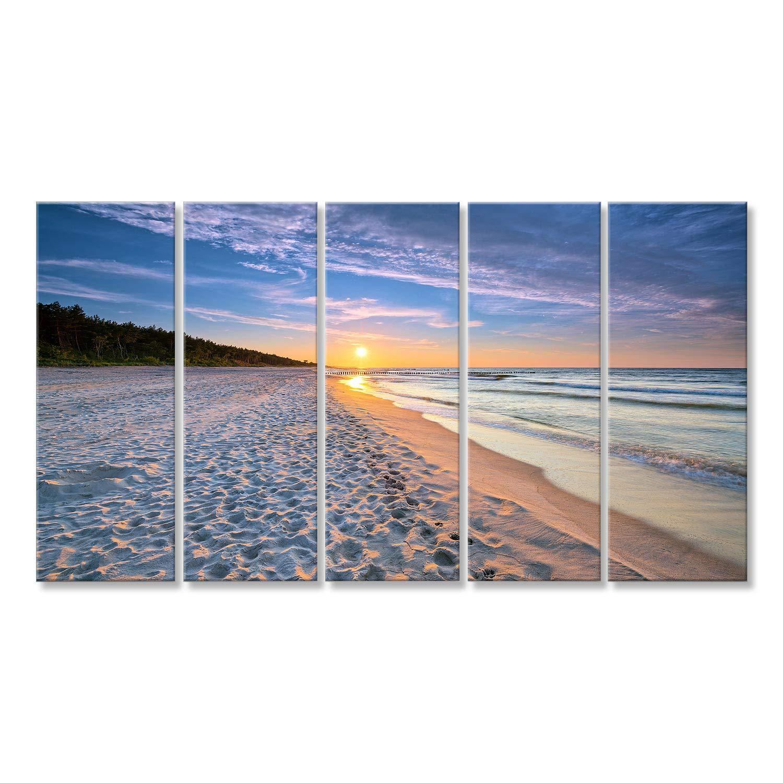 Bild Bilder auf Leinwand Sonnenuntergang am Strand auf der Ostsee. HDR - hoher Dynamikbereich Wandbild, Poster, Leinwandbild Lap
