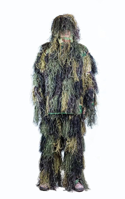Ghillie Anzug CS Tarnung Anzüge Set 3D Bionic Blatt Jagd Disguise Uniform Sniper Dschungel Military Zug Jagd Tuch Woodland