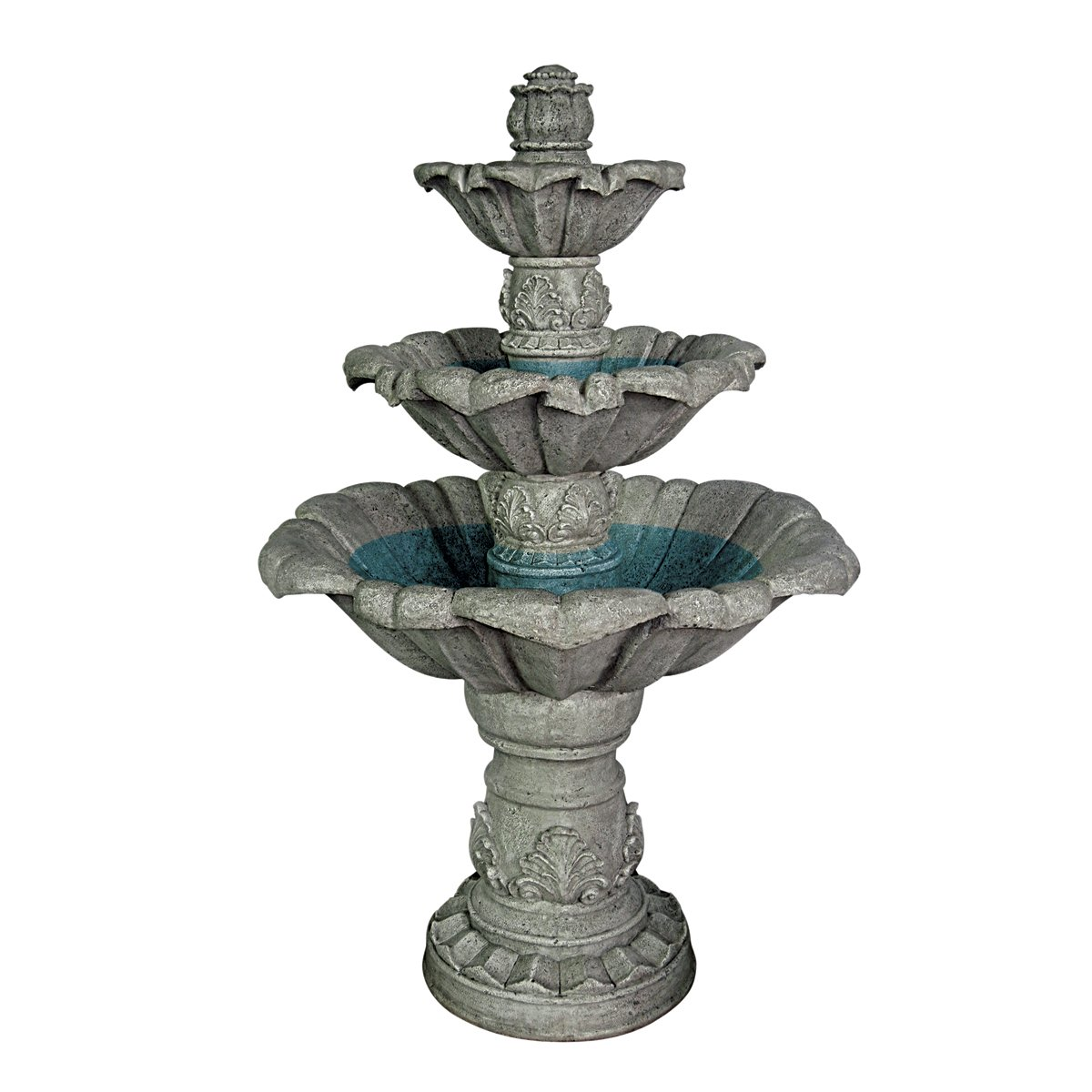 Water Fountain - 4 Foot Tall Sorrento Three Tier Garden Decor Fountain - Outdoor Water Feature