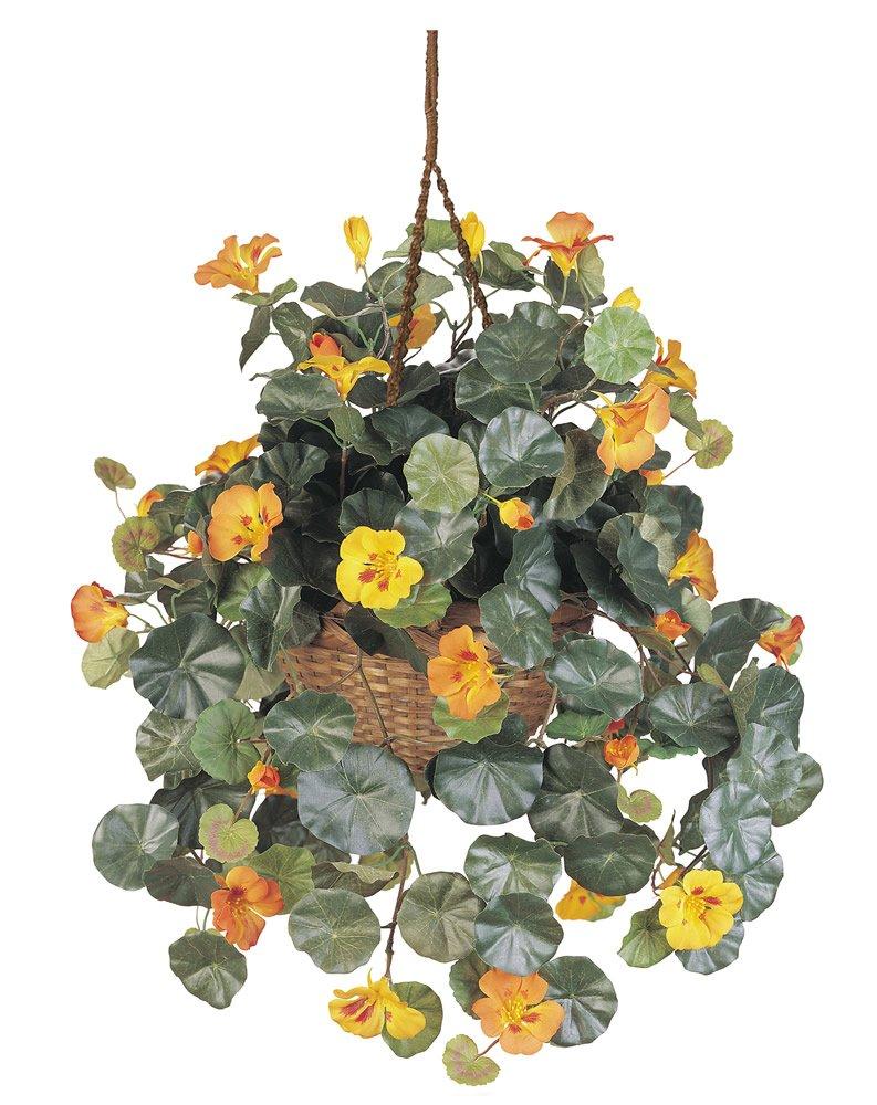 Nearly-Natural-6025-Nasturtium-Silk-Hanging-Basket-Multicolored