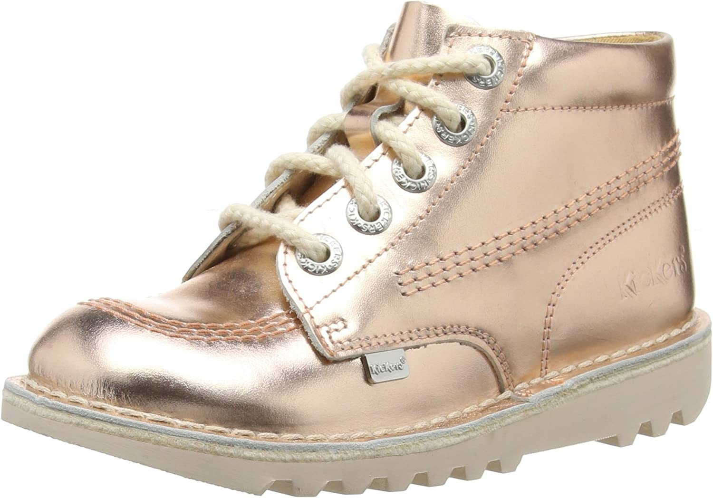 Kickers Kick Hi Metallic Gold Junior Leather Boots Size UK 3-6