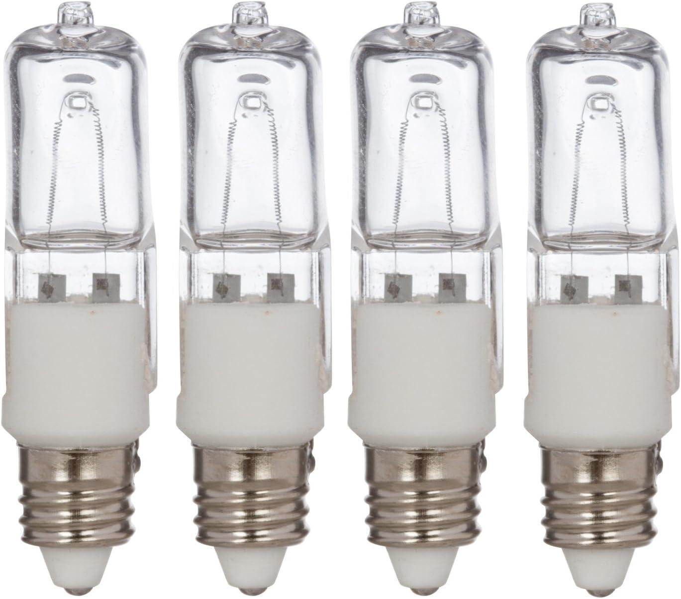 Simba Lighting Halogen E11 T4 100 Watt 1100lm 120 Volt Light Bulb (4 Pack) for Chandeliers, Pendants, Table Lamps, Cabinet Lighting, Mini-Candelabra Base, 100W JD 110V 120V Warm White 2700K Dimmable