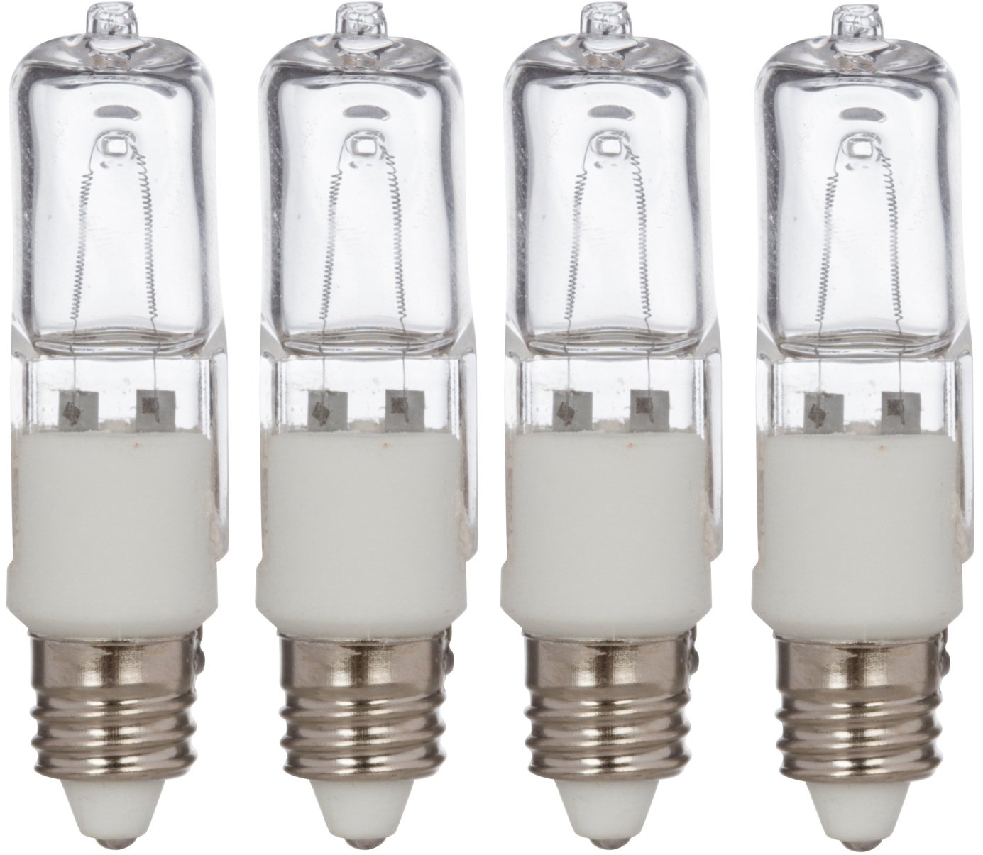 [4 Pack] Simba Lighting Halogen E11 T4 75 Watt 780lm 120 Volt Light Bulb for Chandeliers, Pendants, Table Lamps, Cabinet Lighting, Mini-Candelabra Base, 75W JD 110V 120V 130V Warm White 2700K Dimmable