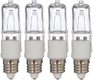 [4 Pack] Simba Lighting Halogen E11 T4 50 Watt 560lm 120 Volt Light Bulb for Chandeliers, Pendants, Table Lamps, Cabinet Lighting, Mini-Candelabra Base, 50W JD 110V 120V 130V Warm White 2700K Dimmable