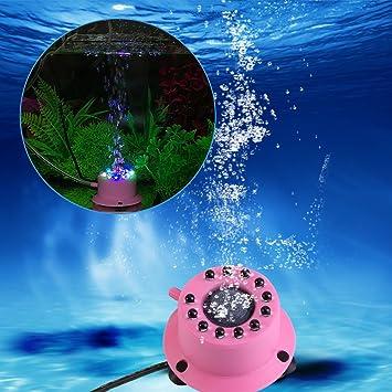 Sixrun Disco de la Piedra del Aire del Acuario LED, difusor Redondo Sumergible Sumergible de la Burbuja de la Lámpara del Tanque de Pescados: Amazon.es: ...