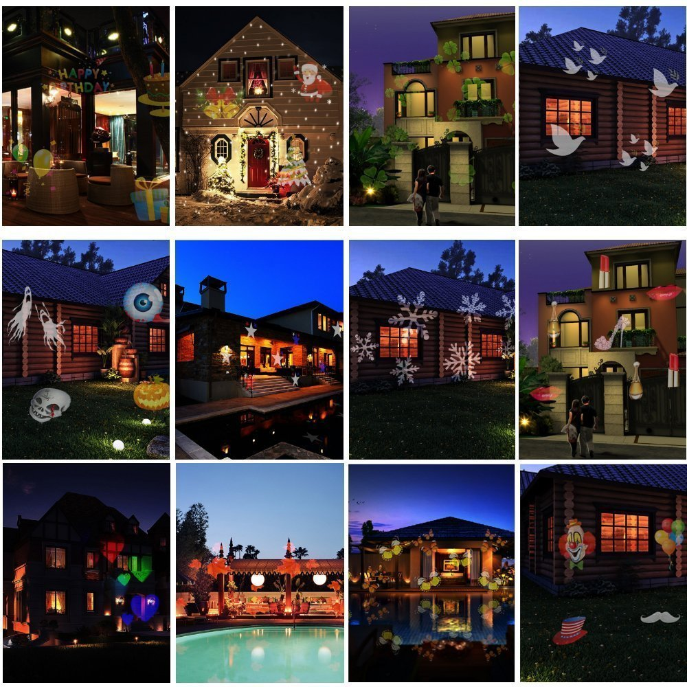 Christmas New Year's Day Valentine's Day Carnival Birthday SENQIAO Projector Light 12 Pattern LED Landscape Light Waterproof Garden Lamp Projection Lighting for Holiday, Party, Garden Decoration by SENQIAO (Image #4)