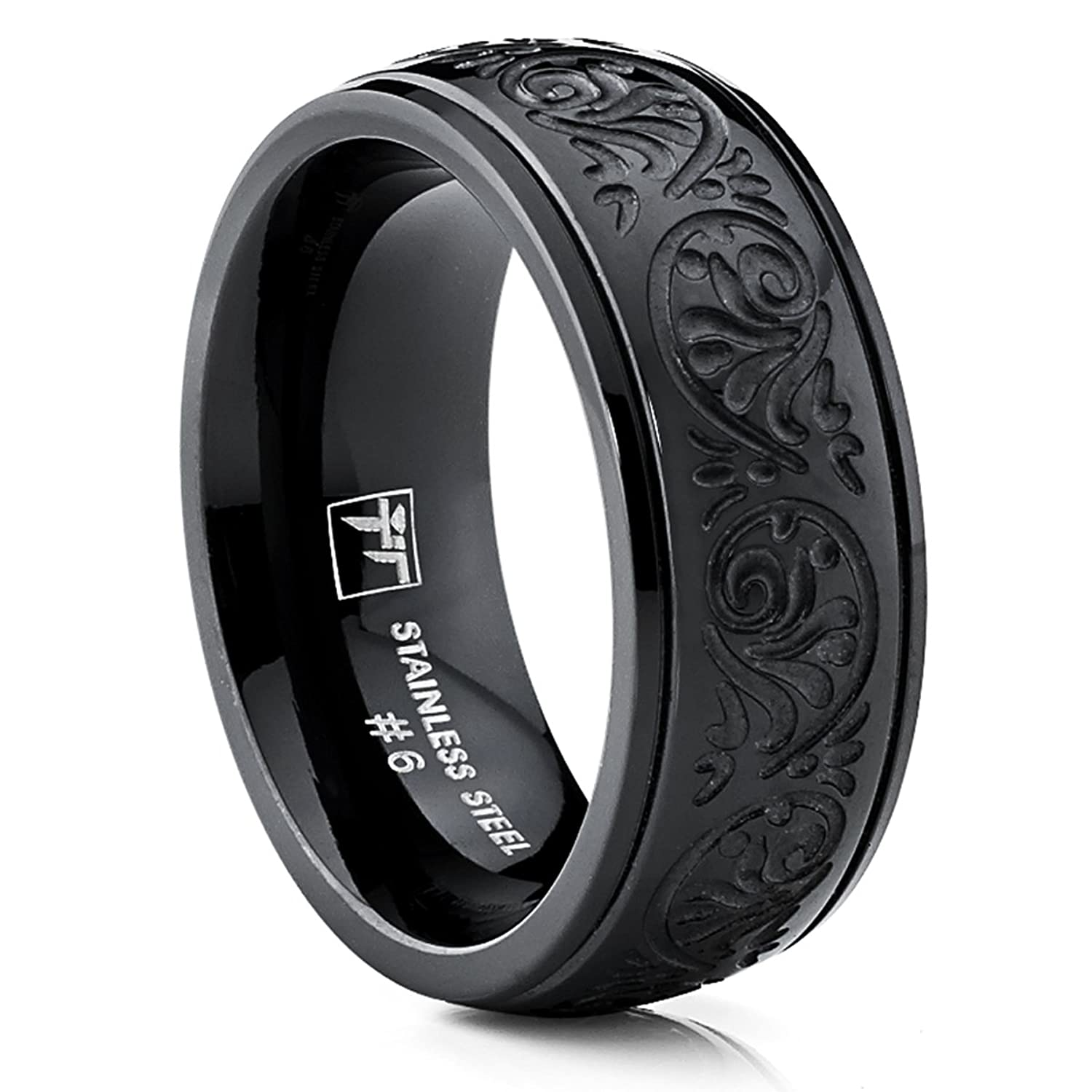 Amazon 7MM BLACK Stainless Steel Ring With Engraved