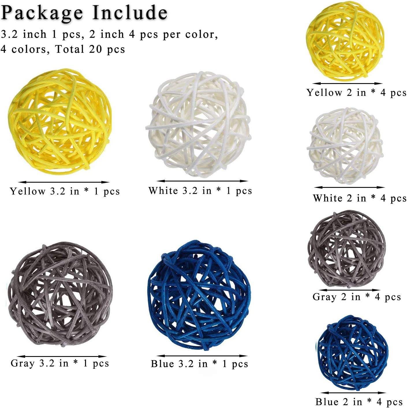 Blue, Light Blue, White,Nature Color Aromatherapy Accessories Party Baby Shower Craft 20 PCS Rattan Balls Wicker Ball Decorative Orbs Vase Fillers for Home Decor Wedding Decoration 3.2 In,2 In