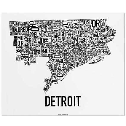 Amazon.com: Detroit Neighborhoods Map Art Poster, Black & White, 24 on