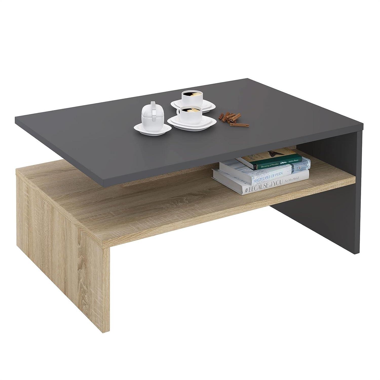 CARO-Möbel Couchtisch Paulina Wohnzimmertisch Beistelltisch in grau/Sonoma Eiche, 90 x 60 cm mit Ablagefach