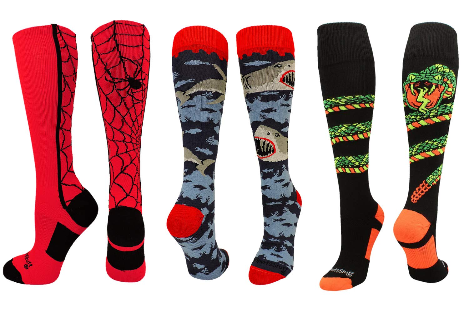MadSportsStuff Shark Socks Spider Socks Snake Socks Combo Pack (3-Pack Multi, Small)