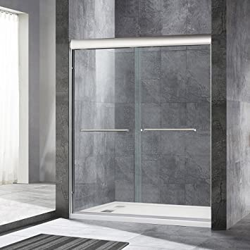 notch inline shower by frameless home door doors to showers glass slide with panel blizzard