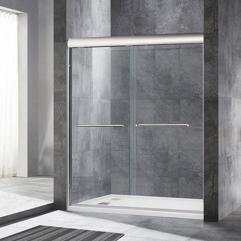 WoodBridge Semi-Framed Bypass Sliding Shower Door 56'' to 60'' by 72'', Brushed Nickel Finish, MSDE6072-B