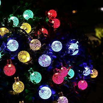 OxyLED Guirnalda de luces solares,30 luces LED de color para jardín, Luces de