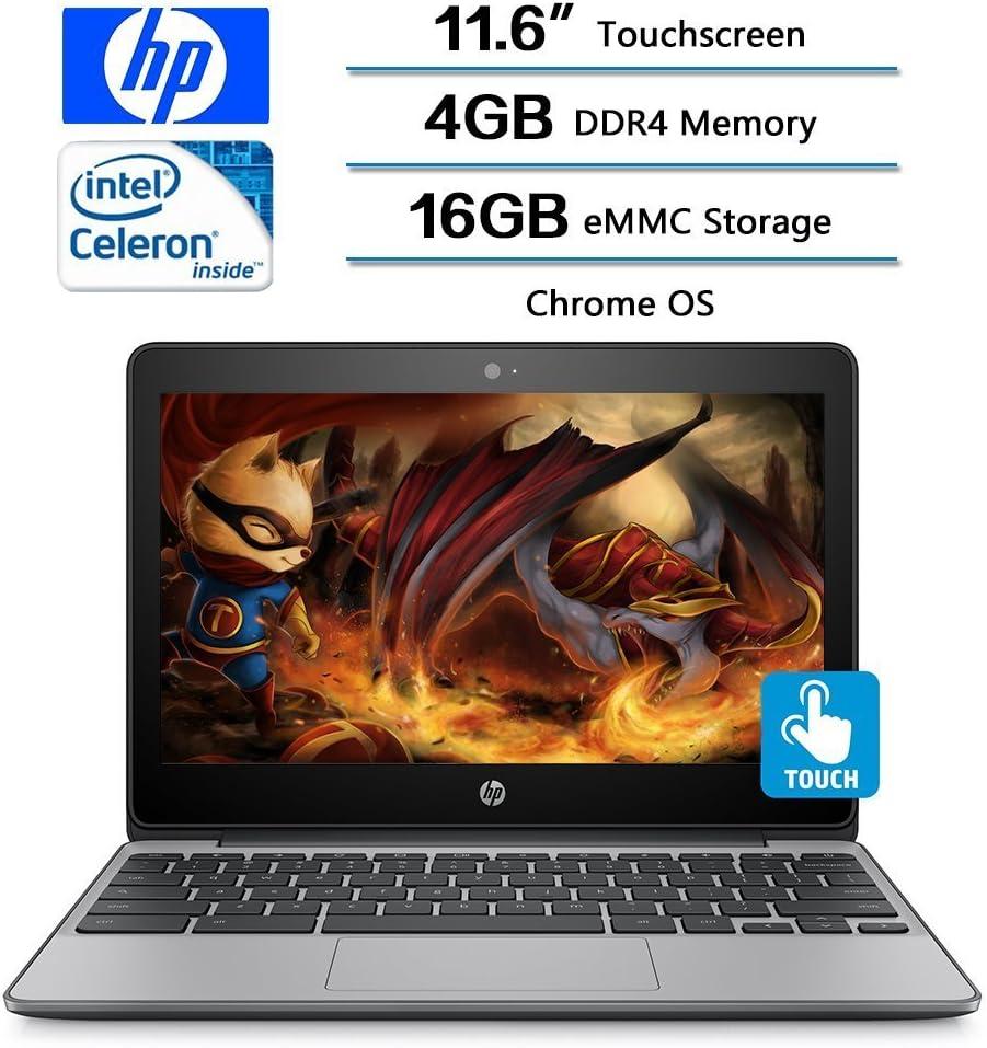 """2018 Flagship HP 11.6"""" HD IPS WLED-Backlit Touchscreen Chromebook - Intel Celeron N3060, 4GB DDR3, 16GB eMMC, 802.11ac, HDMI, HD Webcam, Bluetooth, 1 microSD Media Card Reader, USB 3.1, Chrome OS"""